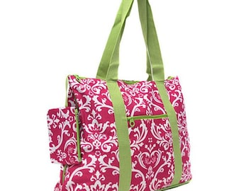 Large Damask Hot Pink Lime Green Trim Tote with Free Embroidery | Damask Gym Bag | Hot Pink Damask Tote | Neon Green Tote | Pink Damask Bag