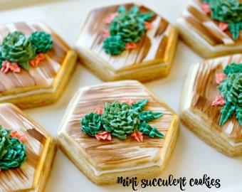 Mini Hexagon Succulent Sugar Cookies - 1 Dozen perfect for weddings favors!