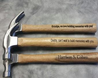 Laser engraved hammer with custom message/16 oz. wood handle hammer