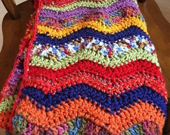 Bright ripple baby afghan