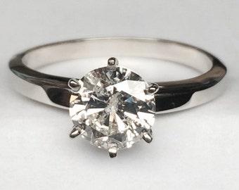 One Carat Round Solitaire Diamond Ring