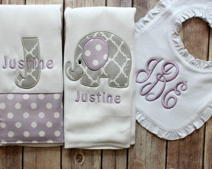 Monogrammed Baby Girl Elephant Burp Cloth Set, Purple Grey Elephant Burp Cloth, Monogrammed Girl Elephant Burp, Baby Shower Gift, New Baby