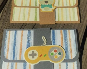 Set of Two Boy/ Gamer Pop-up Gift Card Holders