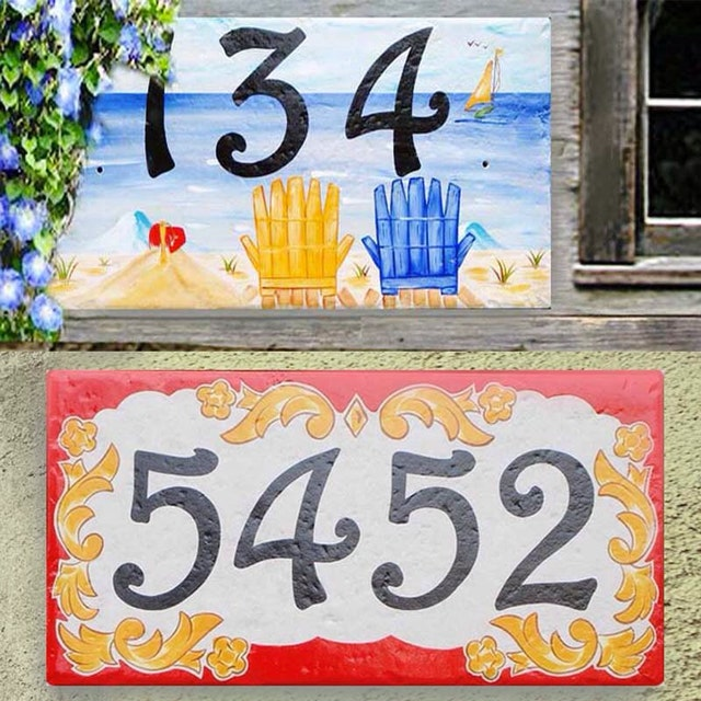Hand Painted Porcelain House Number by BeachStudio7 on Etsy