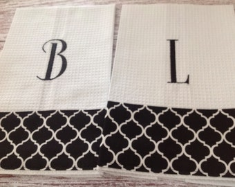 Waffle Weave Kitchen Towel/Personalized with Initial
