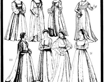 Italian Renaissance Gowns circa 1470-1505 Period Patterns Sewing Pattern # 41 in 8 Styles sizes 6-20