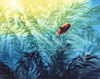Original painting watercolor 24 x 18 cm 9.4 x 7inch fish unframed animal nature ocean water sea blue orange Garibaldi series 1 kelp children