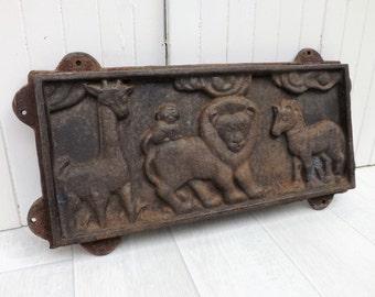 Cast iron wall plaque African jungle animals giraffe lion monkey zebra original wall art garden wall plaque
