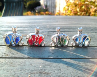 English Sea Glass Pendant Necklace Elephant Locket Filled with Sea Glass Red Sea Glass Blue Sea Glass Multi Sea Glass Sterling Silver HA