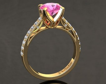 Pink Sapphire Engagement Ring Pink Sapphire Ring 14k or 18k Yellow Gold Matching Wedding Band Available W4PKY
