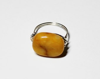 Silver Plated Wire Wrapped  Honey Tone Jasper Solitaire Ring - Statement Ring