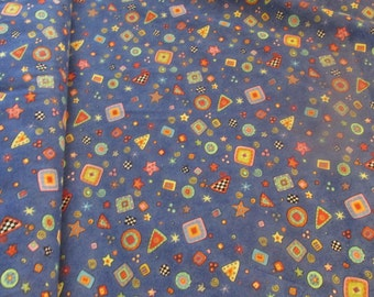 Blue with Bright Shapes Cotton