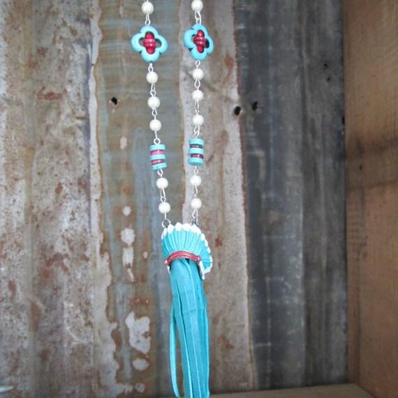 Beaded Fringe Necklace with Indian Head Dress, Boho Necklace, Western Style Necklace