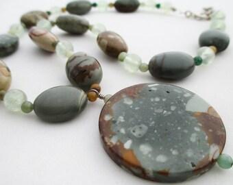 SALE - Jasper and Prehnite Necklace