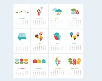 Year of Colours Printable Calendar 2016 | Mini Desk or Planner Calendar (Instant Download)