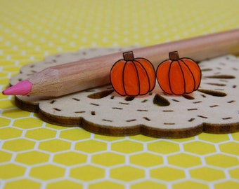 Tiny orange Halloween Pumpkins Shrinky Dink Stud Earrings Jewelry