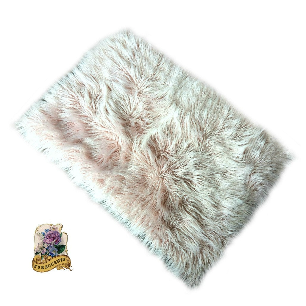 Sale Soft Faux Fur Area Rug Light Pink Shaggy Shag By