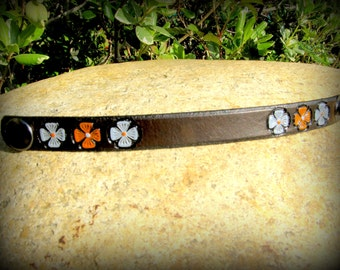 Custom Leather bracelet for women - Personalized bracelet - Hand Stamped Cuff - 1/2 inch wide - Your choice flower color - Women Girl Kids