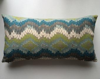 Lumbar Ikat Pillow Cover, Decorative Pillow Cover, 12''x20''