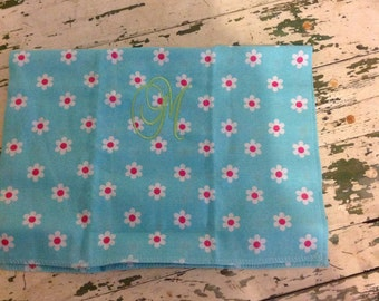 Flower monogrammed burp cloth