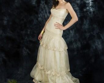 Champagne silk organza bridal skirt, beige wedding separates, two piece wedding dress, ruffle wedding skirt, bridal separates, 2 piece gown