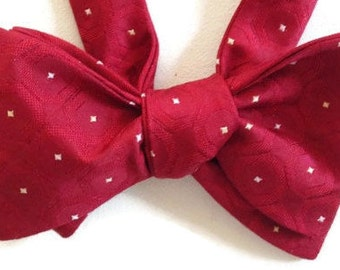 Silk Bow Tie for Men - Rich Red - One-of-a-Kind - Handcrafted, Self-tie, Adjustable - Free Shipping