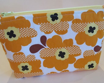 Orange & Yellow Flower Zipper Pouch