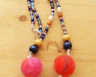 Felted Bead Necklace- Pink and Orange