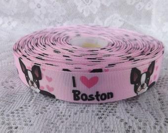 Dog ribbon Boston Terrier ribbon 7/8 Boston Terrier Grosgrain ribbon