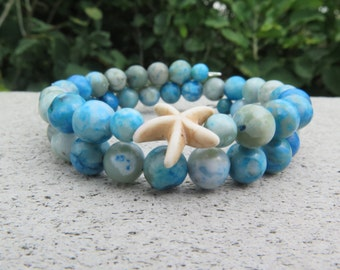 Starfish and Stone Beaded Memory Wire Bracelet