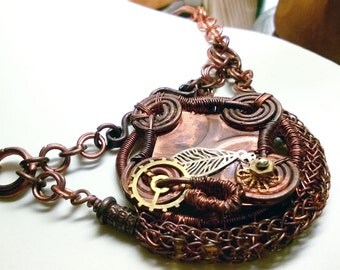 Copper wire wrapped Steampunk pendant