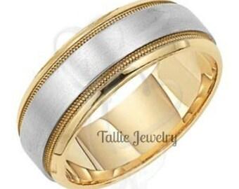 Two Tone Wedding Rings,14K Gold Mens Wedding Rings,Womens Wedding Bands,Matching Wedding Bands,Handmade Wedding Rings,Rose Gold Rings