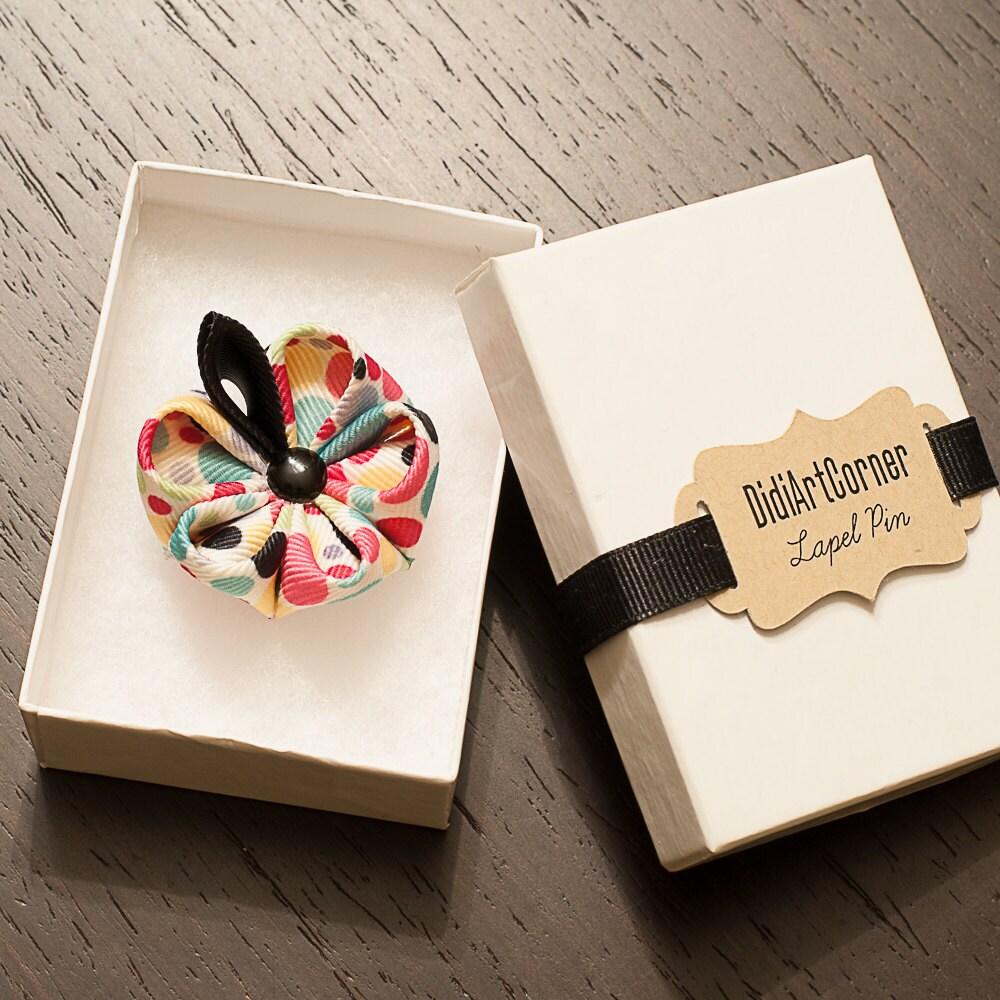 Stylish Beautiful Black Flower Lapel Pin: Kanzashi Flower Lapel Pin With Black Button Polka Dots Flower