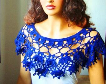 Blue Bolero Shrug Capelet Wrap, Bride Bridesmaid Bolero, Wedding Blue Shrug Shawl , Crochet  Summer Shrug
