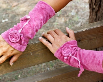 Pink velvet gloves, Pink arm warmers, Velvet fingerless gloves, Pink wrist warmers, Pink fingerless gloves, Pink velvet, Fingerless gloves