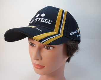 Renault F1 Team Formula 1 And TW Steel Watches Baseball Hat Cap Truckers Hat Cap Black With White And Gold Embroidery One Size Adjustable