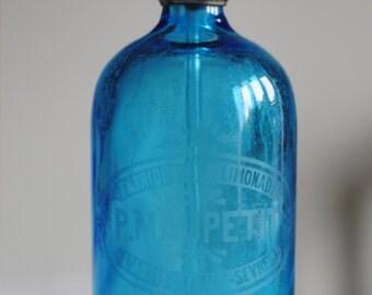 Vintage Blue Glass Soda Syphon