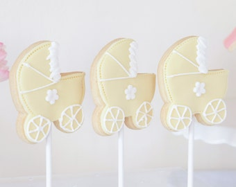 Baby shower gift, new baby cookies, Baby shower biscuits, pram biscuits, baby naming gift, birth announcement gift, christening gift