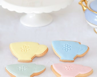 teacup biscuits, birthday gift, gift for gran, mother's day gift, afternoon tea biscuits, wedding favour cookies, tea lover gift,