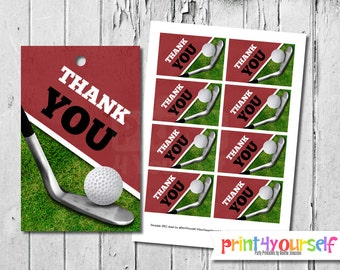 Golf Thank You Tags - Instant Download