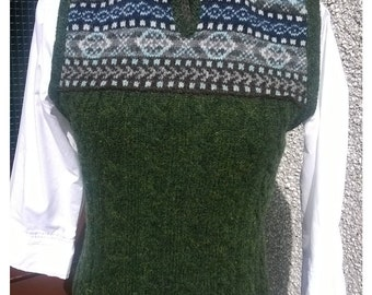 Hand made vest,Made in Shetland wool.
