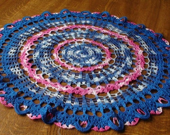 Crocheted doily Pink doily Blue doily Table decoration Home decoration Lace doily