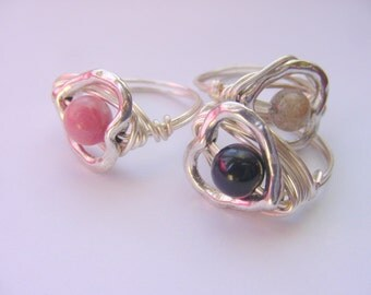 SALE!! Heart Rings, Wire Wrapped Stone, You Choose, Clarity, Yin Yang Balance, Reiki, Chakra Jewelry,  FREE SHIPPING