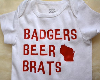 Wisconsin baby badger onesie - Badgers, beer, brats, Cute state clothing, handmade, Madison, WI - baby shower gift by Eclectic Badger