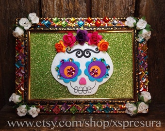 Day-of-the-Dead Nicho Frame / Dia-de-los-Muertos Shrine / Folk Art Calaca Altar / Skeleton Art Self-Standing Decor / Wall Hanging Retablo