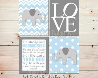 Nursery Art Baby Boy Nursery Wall Decor Elephant Baby Decor Elephant  Nursery Art Prints Blue Gray
