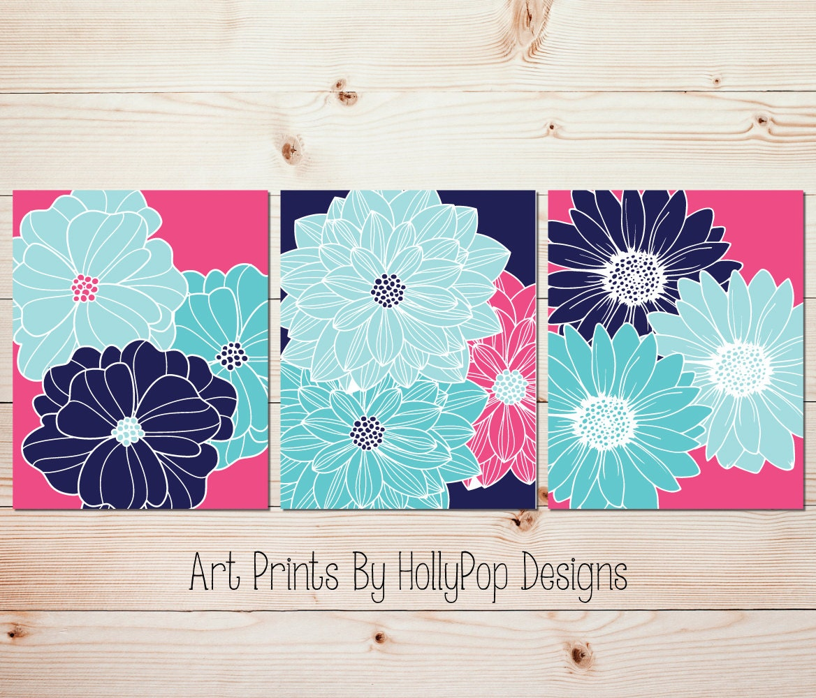 Bright colorful wall art Hot pink navy art Girls room decor