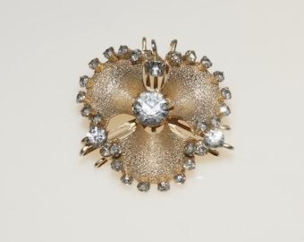"Vintage Embossed Gold Tone White Rhinestone Brooch Pin or Pendant 1.5"""