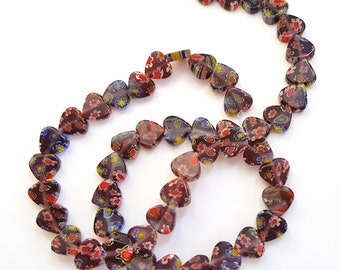 Dark Purple Flowered Millefiori Glass Heart Beads!!   15 Inch Strand of 8mm Pretty Purple Hearts.  50 Beads.  Lovely and Unique!!