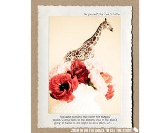 8x10 Motivational Giraffe Print • Positive Home Decor •  Collectible Animal Tales Art • Fable Wall Art • Giraffe • Self Esteem Wall Art